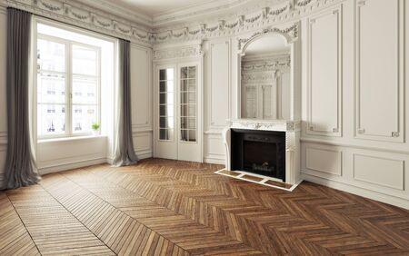 Habitación vacía de una elegante residencia con chimenea, detalles en blanco, espacio interior con acento victoriano y pisos de madera en espiga. Ilustración 3d realista de la foto. Representación 3d Foto de archivo