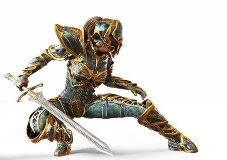 Kapitan rycerza kobieta pozuje z mieczem w postawie bojowej bojowników na na białym tle. renderowanie 3d