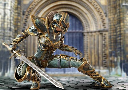Knight captain female posing with her sword in a fighters combat stance. 3d rendering Imagens