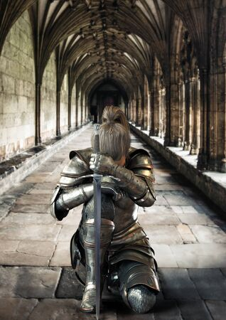 Female warrior knight kneeling proudly wearing decorative metal armor and holding a sword. 3d rendering