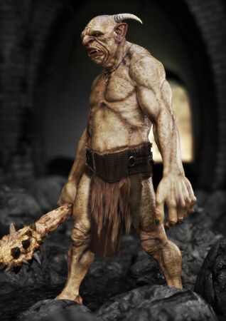 Portrait of a evil troll with spiked club, patrolling under a bridge. 3d rendering Imagens