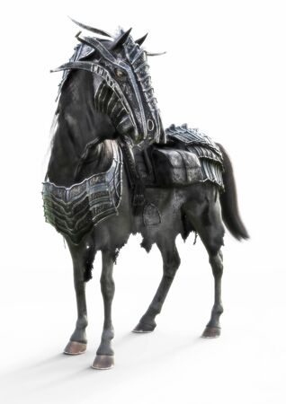 Front angled view of a posing black armored war horse on a isolated white background. 3d rendering Stock Photo - 134339689