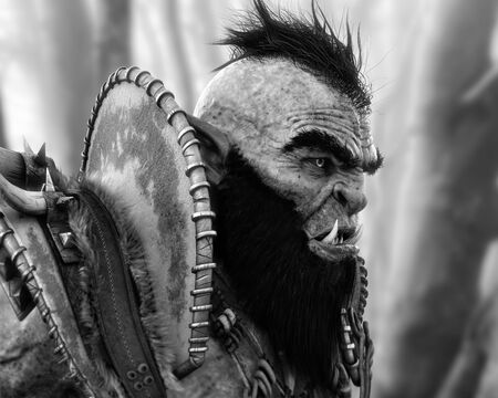 Portrait side profile of an armored orc patrolling the woods in black and white . 3d rendering