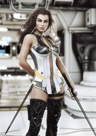 Futuristic female warrior holding duel swords posing ready for combat with a sci-fi background interior . 3d rendering