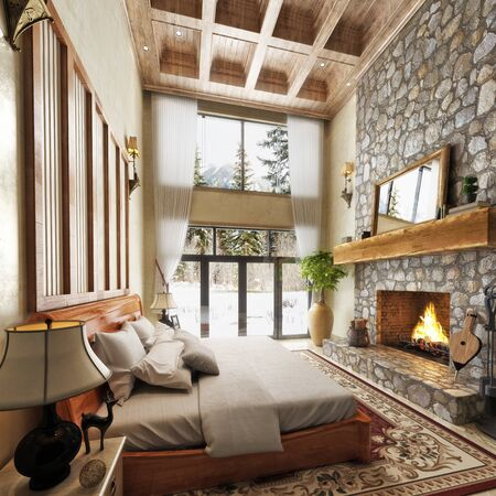 Luxurious cabin interior bedroom design with rustic accents and a roaring stone fireplace with winter scenic background. Photo realistic 3d model scene.  3d rendering