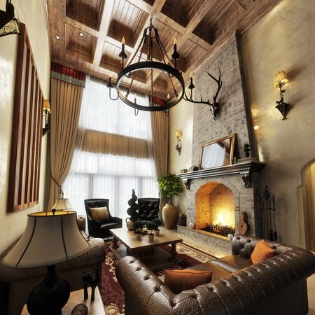 Luxurious high ceiling cabin interior living room design with roaring fireplace. Photo realistic 3d model scene. 3d rendering