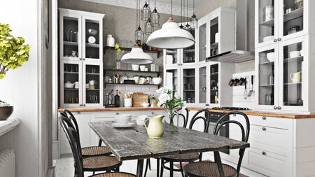 Scandinavian or country style kitchen with eating area and simplistic accents. 3d rendering Imagens