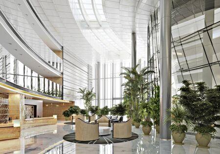 Large open concept contemporary atrium style resort lobby interior. 3d rendering