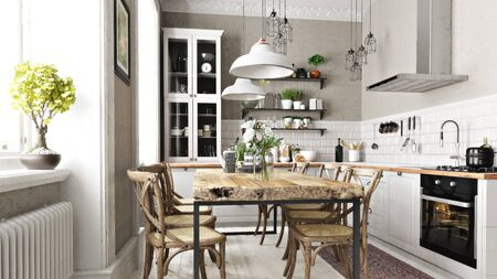 Scandinavian contemporary style kitchen with eating area and simplistic accents. 3d rendering Imagens