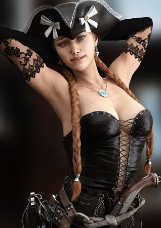 Portrait of a young pirate female with long braided red hair. Posing woman is wearing a black corset bustier, tricorn hat , gun belt and armed with a pistol and sword.3d rendering Imagens