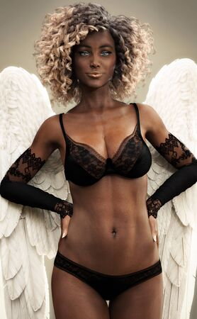 Sexy African American woman wearing black lingerie and angel wings. 3d rendering