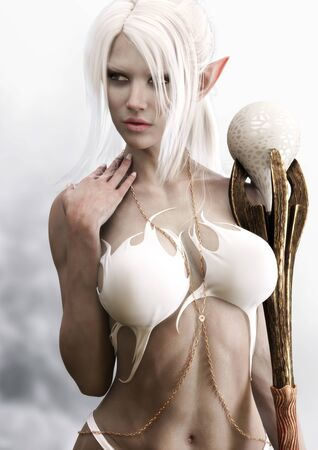 Portrait of a sensual fantasy dark elf female sorceress with white long hair,silk dress and holding a magical staff. 3d rendering . Fantasy illustration