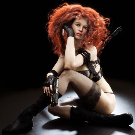 Sexy dark curly red headed woman sitting wearing a black sci fi assassin outfit consisting of thigh high lace stockings, futuristic Samurai sword and laser pistol. 3d rendering with studio lighting Zdjęcie Seryjne