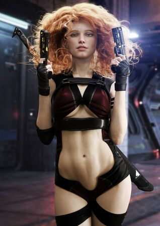 Portrait of gorgeous red headed female sci fi assassin bounty hunter character with two laser pistols and a sword on her back posing with a futuristic background. 3d rendering