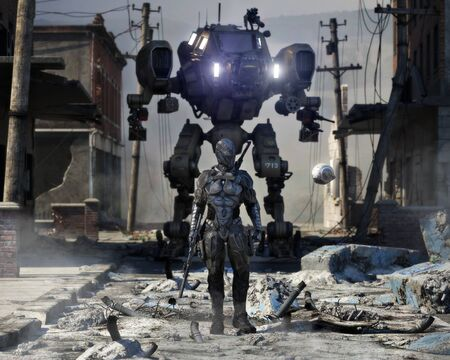 Futuristic sci fi warrior walking through a destroyed city streets with a scout drone and mechanized machinery in the background. Soldier is equipped with a rifle and sword. 3d rendering