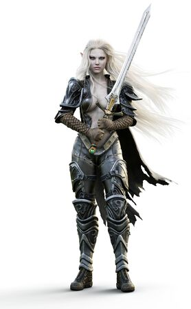 Portrait of a fantasy heavily armored dark elf female warrior with white long hair and equipped with a sword . 3d rendering. Fantasy illustration on an white background