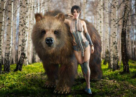 Portrait of a fantasy elegant Druid dark haired female devoted to nature posing with her beloved tamed pet brown bear . 3d rendering Zdjęcie Seryjne