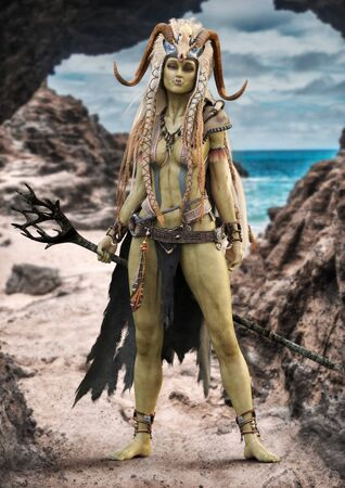 Portrait of a fantasy female orc shaman standing at the entrance to her cave with staff and native outfit including a cloak and horned skull headdress . 3d rendering