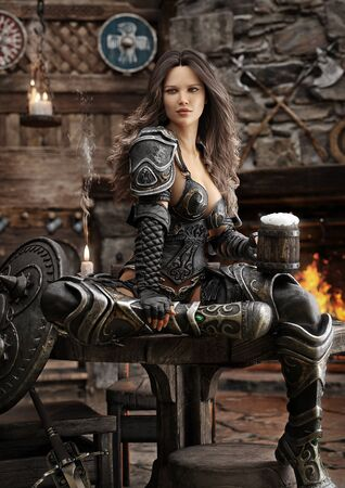Portrait of a fantasy warrior female relaxing in a medieval tavern with ale after a long journey. 3d rendering Zdjęcie Seryjne