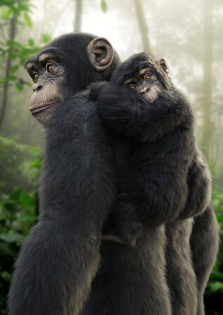 Chimpanzee mother carrying her young baby on her back with a forest background. 3d rendering
