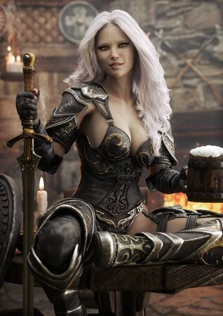 Portrait of a fantasy warrior Dark Elf female with white hair,relaxing in a medieval tavern with ale after a long journey. 3d rendering