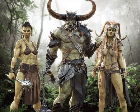 Portrait fantasy Illustration of an Orc raiding party consisting of a male orc brute , hardened female warrior and mystical shaman mage. 3d rendering