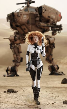 Sci fi armored curly red headed female approaching the camera with weapons draw and her large piloted walking mechanized vehicle transportation with desert camouflage   in the background. 3d rendering