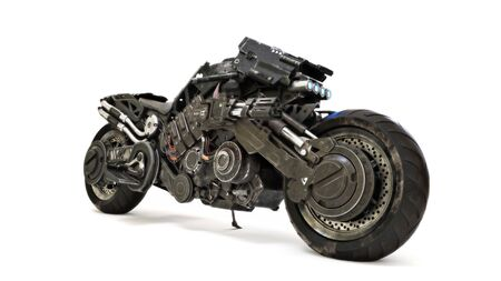 Futuristic custom armored motorcycle concept on an isolated white background. 3d rendering