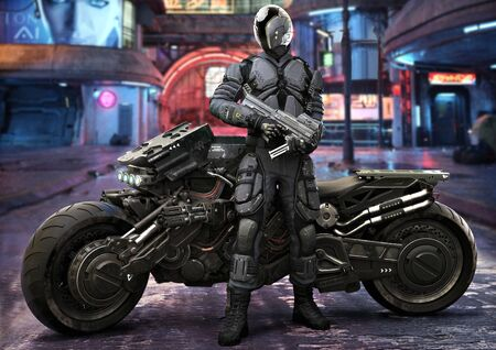 Futuristic armored patrol officer with weaponized vehicle stands watch with an urban neon city retro background. 3d rendering