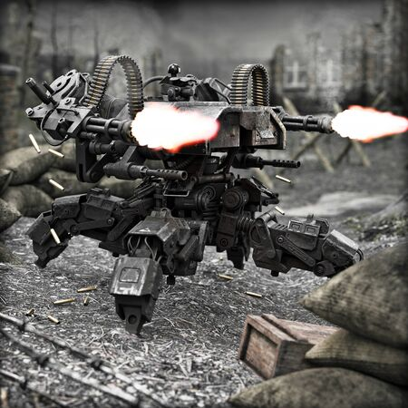 Futuristic heavily armored quad legged land drone military assault weapon unleashing its power on the battlefield. 3d rendering Stock Photo