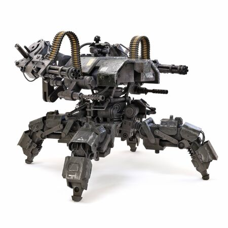 Futuristic heavily armored quad legged land drone military assault weapon concept capable of traversing uneven terrain and delivering tremendous firepower. 3d rendering isolated on white background