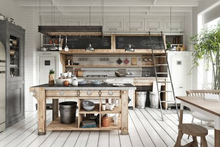 Scandinavian contemporary style kitchen with eating area and simplistic rustic wood accents. 3d rendering
