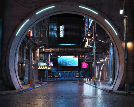 Urban city retro futuristic arch back drop background with neon accents. Neo-noir style 3d rendering.