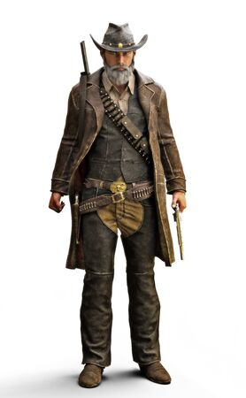 Portrait of a male grizzled bearded cowboy in a traditional western outfit with gun belts and duster coat with weapon in hand. 3d rendering on an isolated white background.