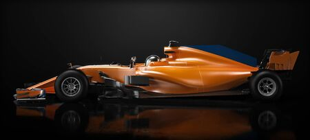 Motor sports competitive team racing. Sleek generic orange race car and driver with side view perspective, studio lighting and reflective background. 3d rendering