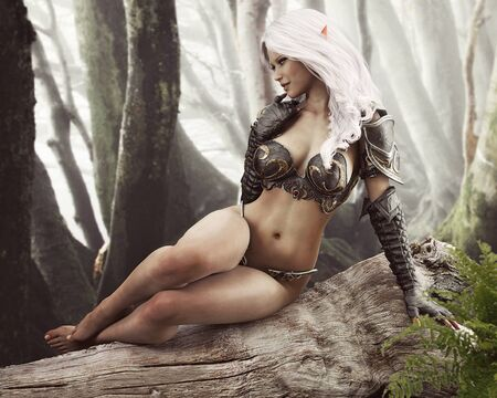 Portrait of a stunning exotic fantasy dark elf female warrior with white long hair resting on a log with an enchanted forest background . 3d rendering . Fantasy illustration Zdjęcie Seryjne