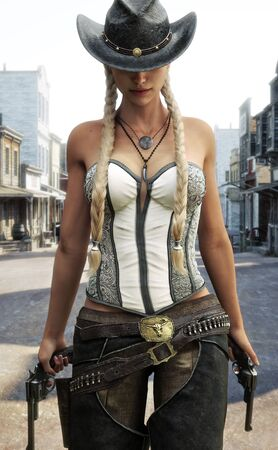 Blonde cowgirl walking the streets of a western town armed with two revolvers. 3d rendering
