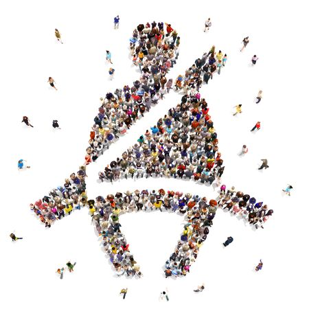 People that buckle up for safety concept. Large group of diverse people walking to and forming the shape of a buckle up symbol on an isolated white background. 3d rendering