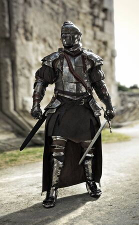 Brave medieval knight standing guard in a full suit of armor and holding a sword in defense of his castle. 3d rendering