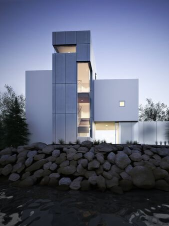 Contemporary exterior architecture residential home at dusk with interior lighting overlooking a body of water with rock outcropping. 3d rendering