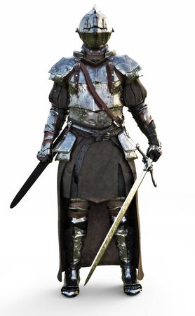 Brave medieval knight standing with a full suit of armor and holding a sword weapon on a white background. 3d rendering