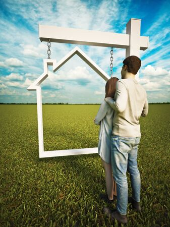 Home ownership dream. A couple standing before a real estate home sign with a grass field and beautiful sky background. Home purchase,selling , or refinance concept. 3d rendering