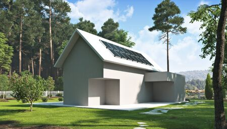 Solar energy home concept . Outline of a residential home exterior in a beautiful rural setting with solar power panels on the roof .Going green off the grid .3d rendering