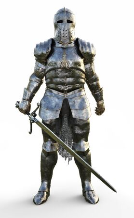 Powerful medieval knight standing with a full suit of armor and holding a sword weapon on a white background. 3d rendering