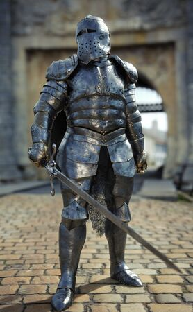 Powerful medieval knight standing with a full suit of armor and holding a sword weapon in front of his castle. 3d rendering