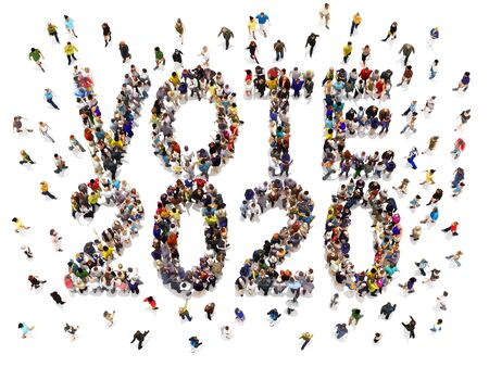 People that are registering and voting in 2020 election concept. Large group of people walking to and forming the shape of the word text vote 2020 on a white isolated background. 3d rendering.