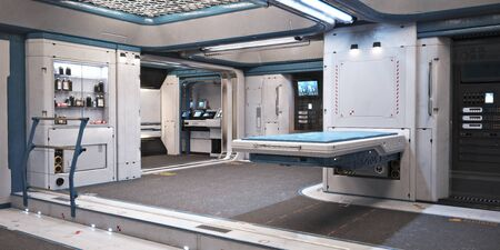 Sci fi futuristic interior of a medical bay with treatment bed and various healthcare equipment and medicines  . 3d rendering Zdjęcie Seryjne