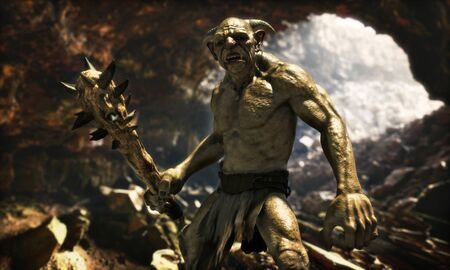 Portrait of an evil troll with a spiked club wandering through a large natural cave.3d rendering Zdjęcie Seryjne