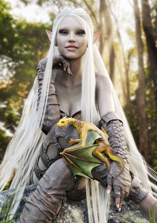 Portrait of a cute fantasy elf with long flowing white hair posing with her pet golden dragon. 3d rendering