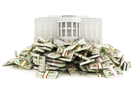 Government relief concept. White house sitting on top of a huge pile of money to be distributed to the population due to the corona virus .Illustration isolated on a white   background. 3d rendering Zdjęcie Seryjne